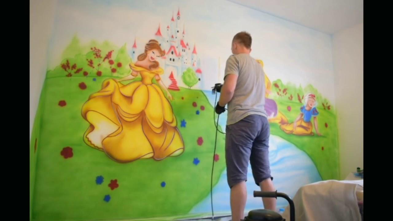 Hand Painted Disney Wall Mural - HD Wallpaper