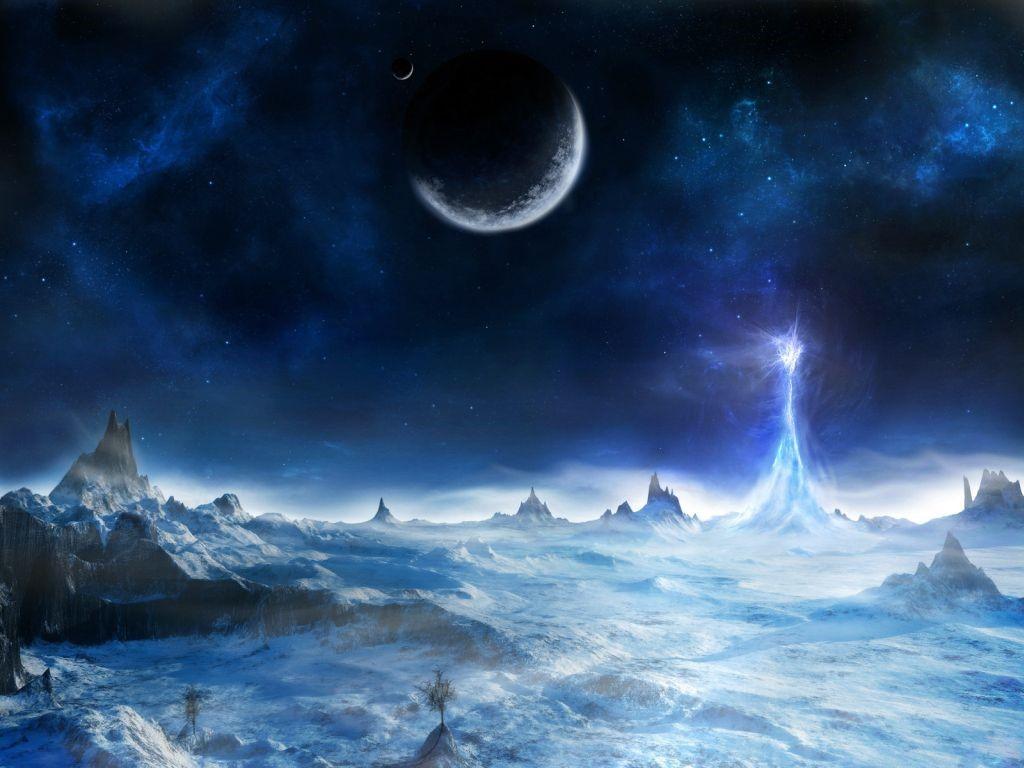 Ice Tower - Dark Fantasy Landscape Art - HD Wallpaper