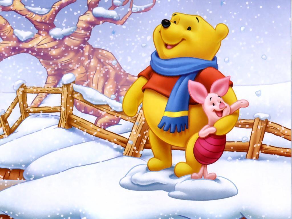 Free Disney Winter Wallpaper - Kartun Winnie The Pooh - HD Wallpaper