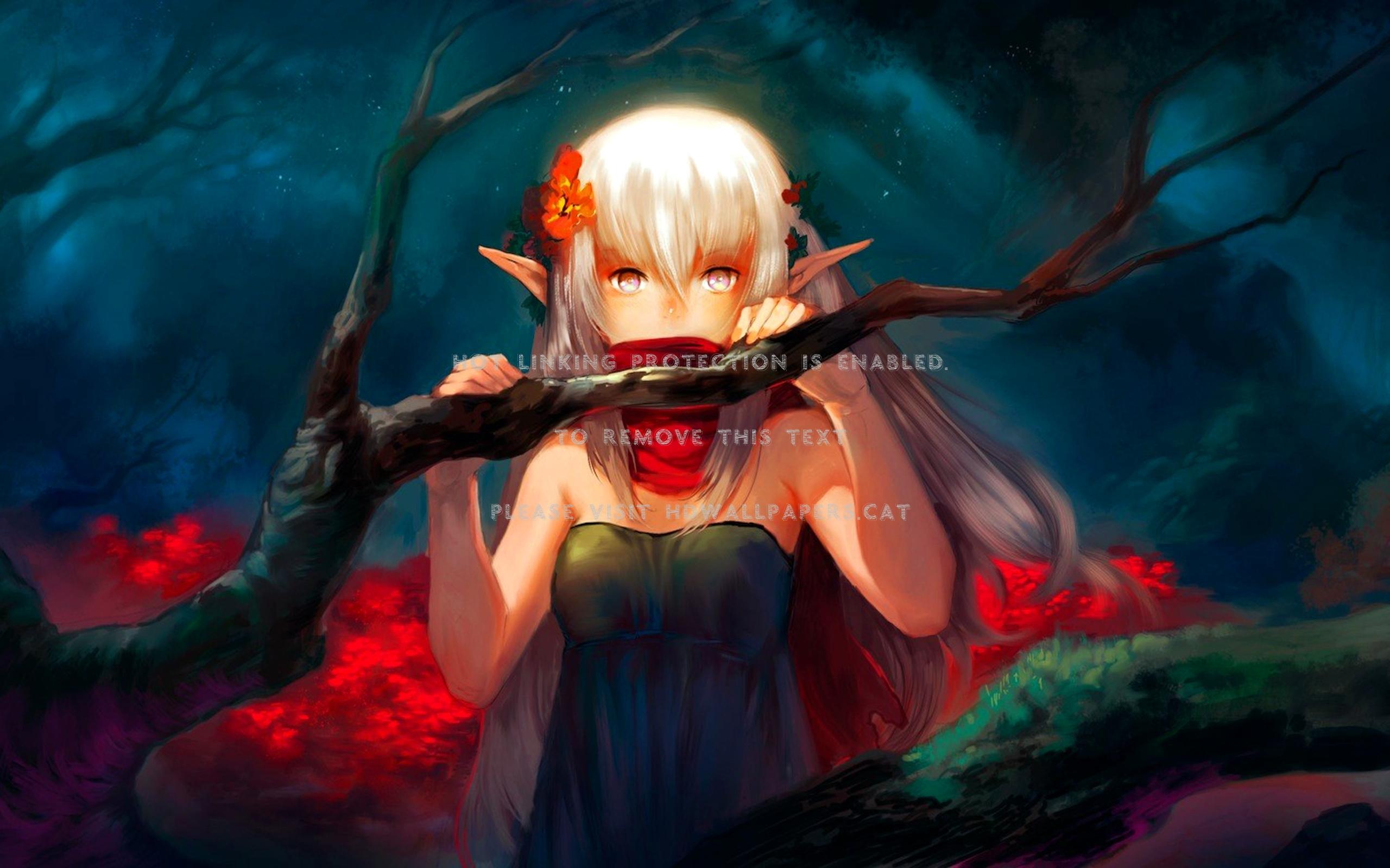 Dark Fairy Fantasy Anime Girl - Anime Girl Elf Fantasy - HD Wallpaper