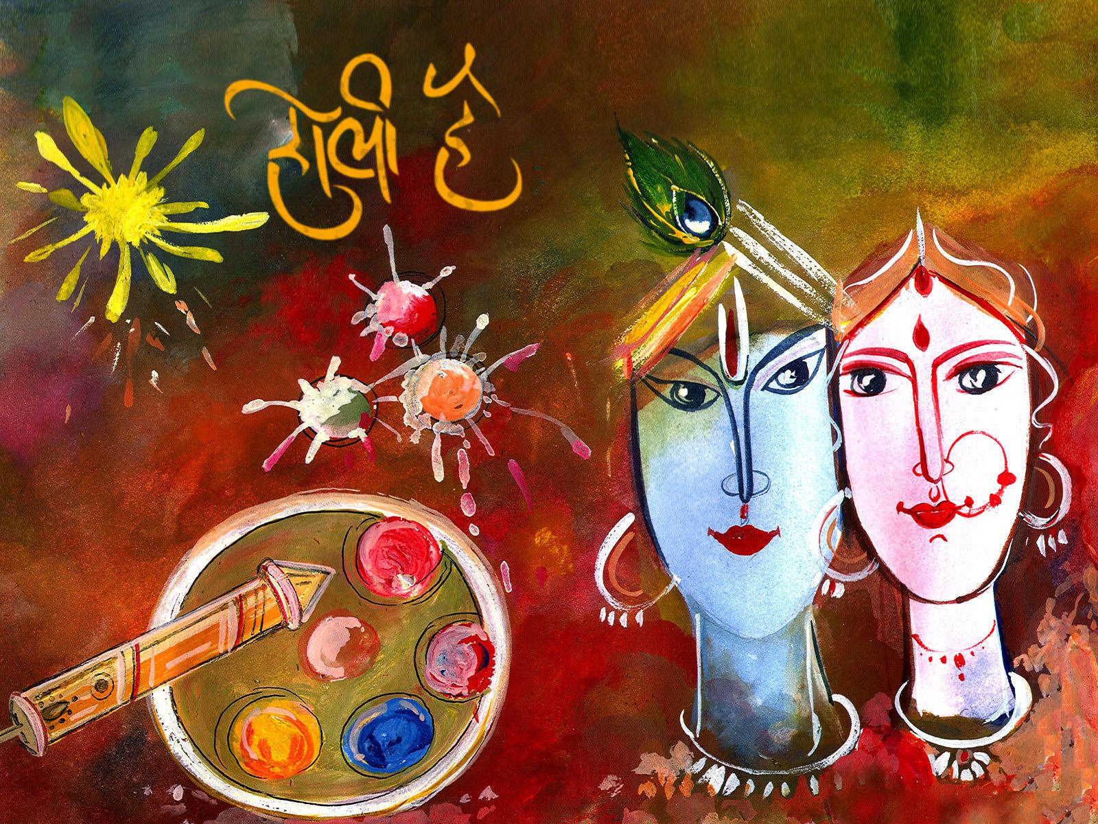 Colourful Holi Wallpaper - Radha Krishna Happy Holi - HD Wallpaper