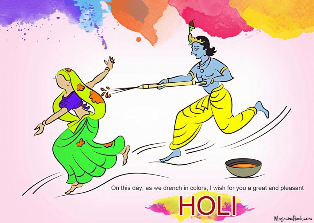 5530 Happy Holi Shayari And Funny Shayari Sms With - Radha Krishna Playing Holi - HD Wallpaper