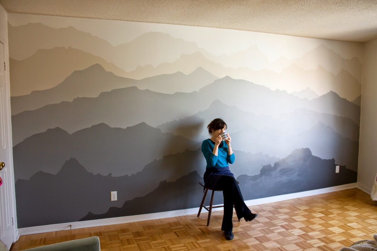 Mountain Mural Bedroom Makeover Wall Paint Live Enhanced - Mountain Painted Bedroom Wall - HD Wallpaper