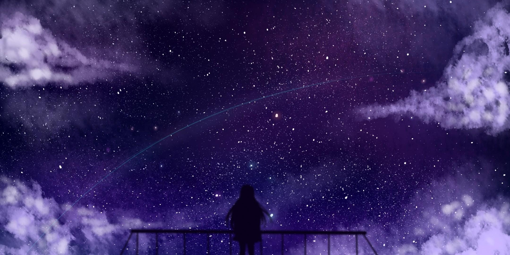 Anime Girl Stars Clouds Fence Silhouette Anime Stars Wallpaper Hd 2160x1080 Wallpaper Teahub Io