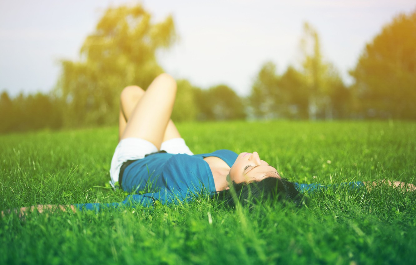 Photo Wallpaper Greens, Grass, Girl, Nature, Situation, - Relax With Nature Mood - HD Wallpaper