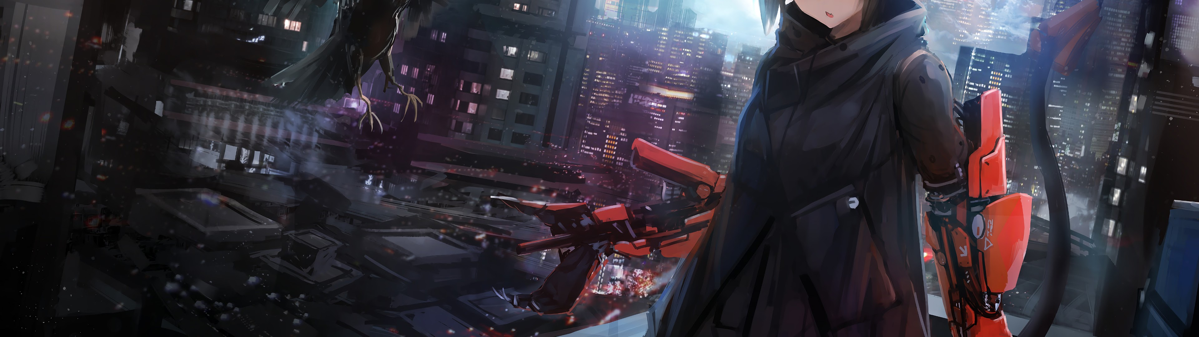 Anime Girl Crow Cyberpunk Sci Fi 4k Cyberpunk Anime Girl 3840x1080 Wallpaper Teahub Io