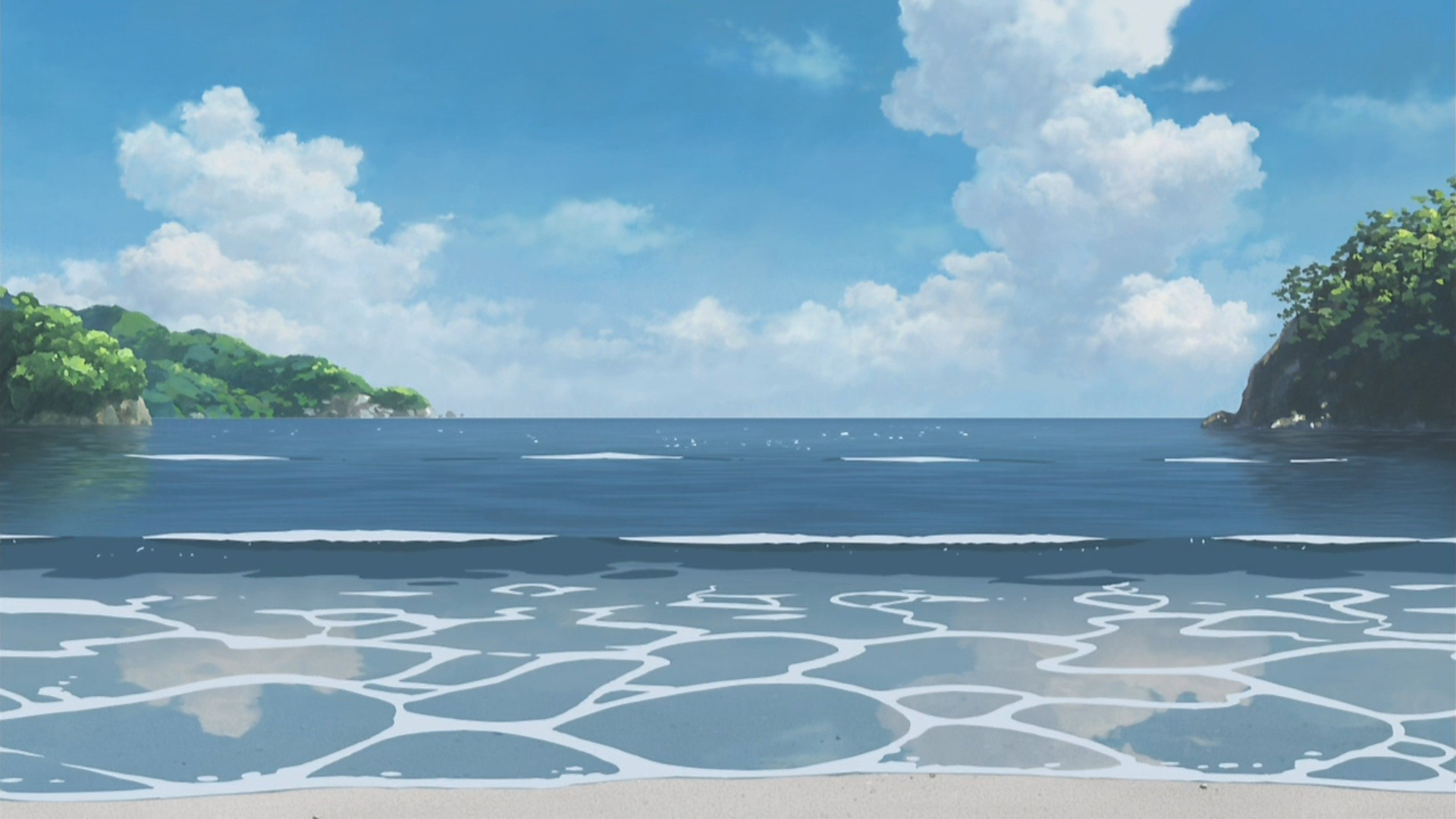 Anime Ocean Background - Fantasy Background Anime Royalty Free - HD Wallpaper