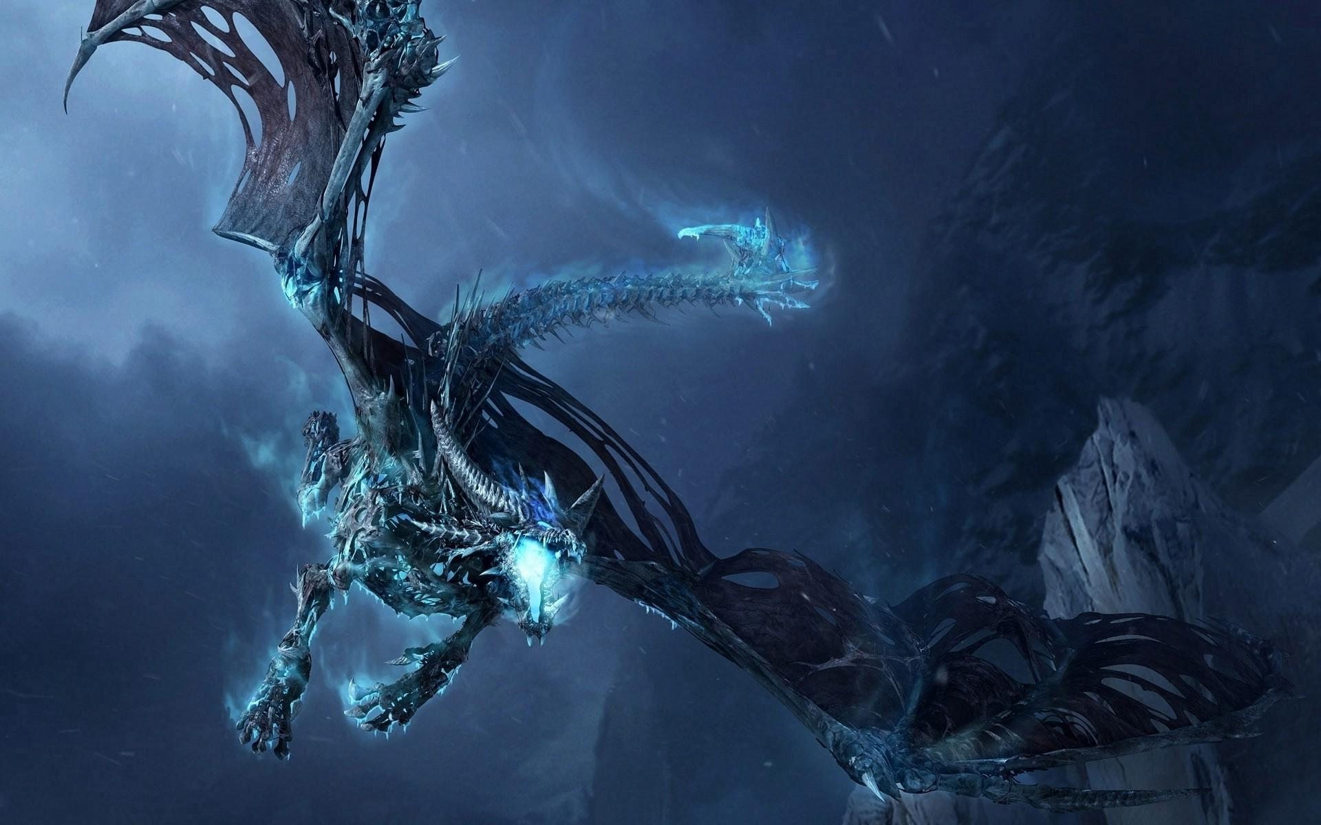 Blue And Black Dragon - HD Wallpaper