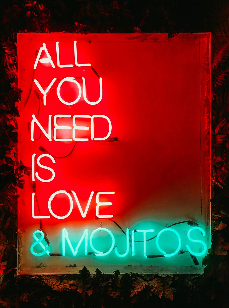 Red And Green All You Need Is Love And Mojitos Neon - All You Need Is Love Neon - HD Wallpaper