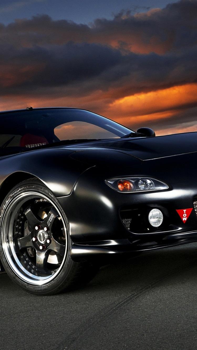 Iphone Wallpaper Mazda Rx 7 Black Car Rx 7 壁紙 750x1334 Wallpaper Teahub Io