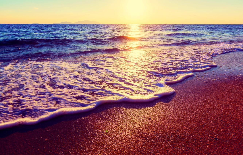 Photo Wallpaper Sand, Sea, Beach, The Sky, The Sun, - Beautiful Ocean Scenery Sunset - HD Wallpaper