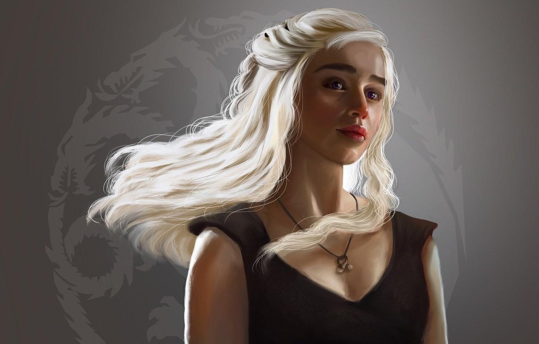 Photo Wallpaper Girl, Fantasy, Long Hair, Art, Painting, - Daenerys Targaryen Art - HD Wallpaper