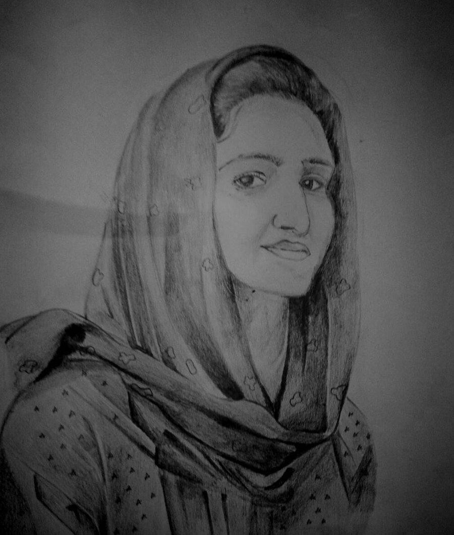 Muslim Drawing Pencil For Free Download - Muslim Girl Pencil Drawing - HD Wallpaper
