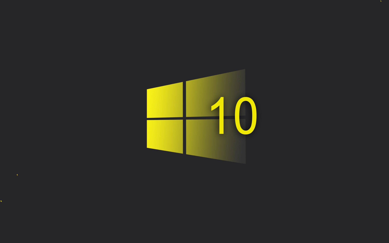 Wallpaper Windows 10 System, Yellow Style Logo, Black - Windows 10 Wallpaper Hd - HD Wallpaper