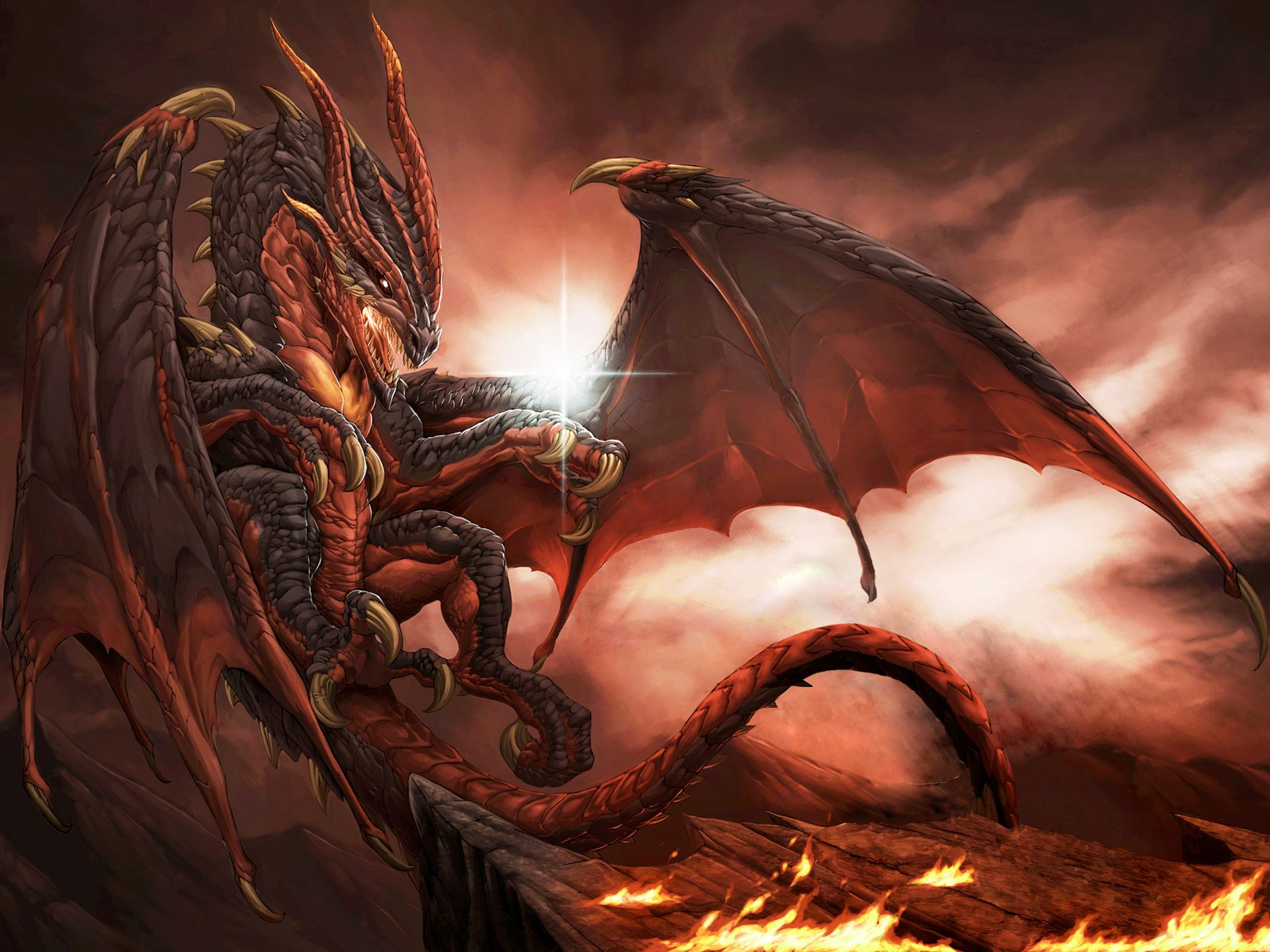 Fire Dragon Wallpaper - Unicorn Fighting A Dragon - HD Wallpaper