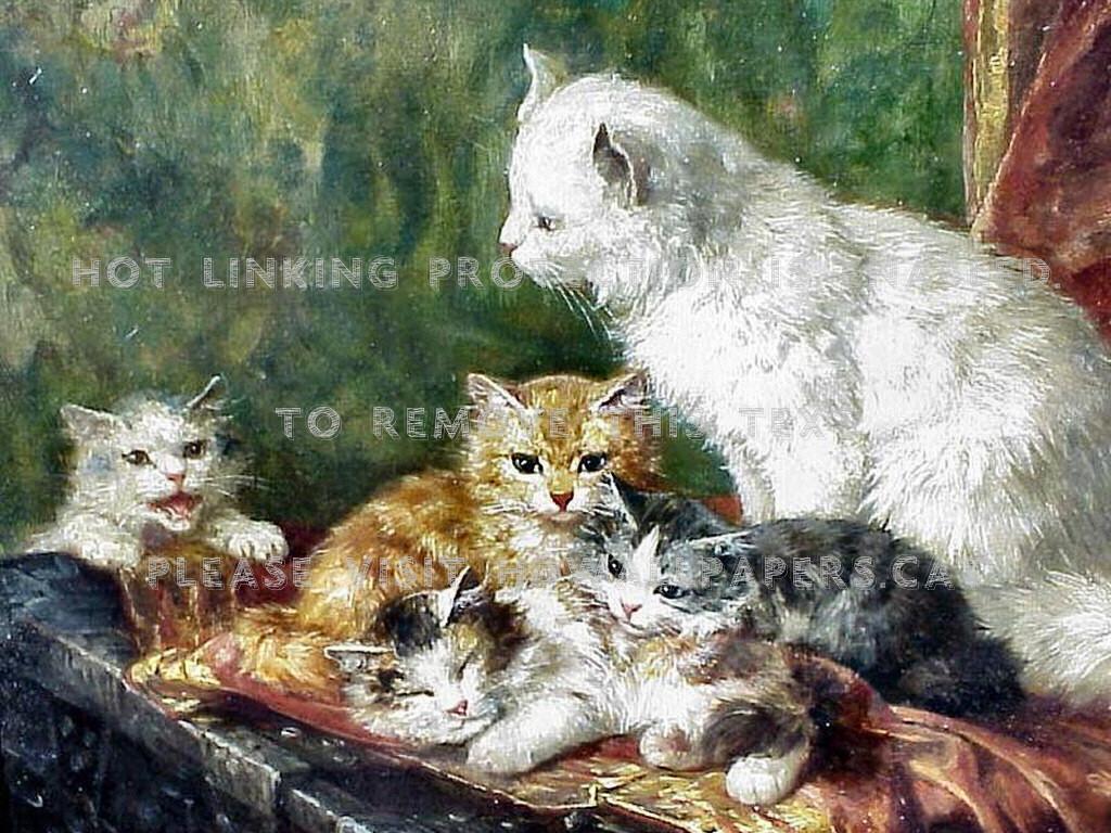 Cat And Her Kittens F Marie Laur Animal Art - Kitten - HD Wallpaper