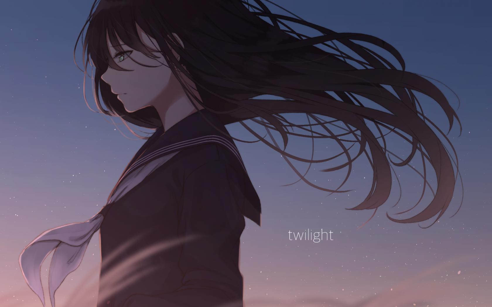 Anime Girl, Sad, School Uniform, Windy, Black Hair, - Dark Sad Anime Girl - HD Wallpaper