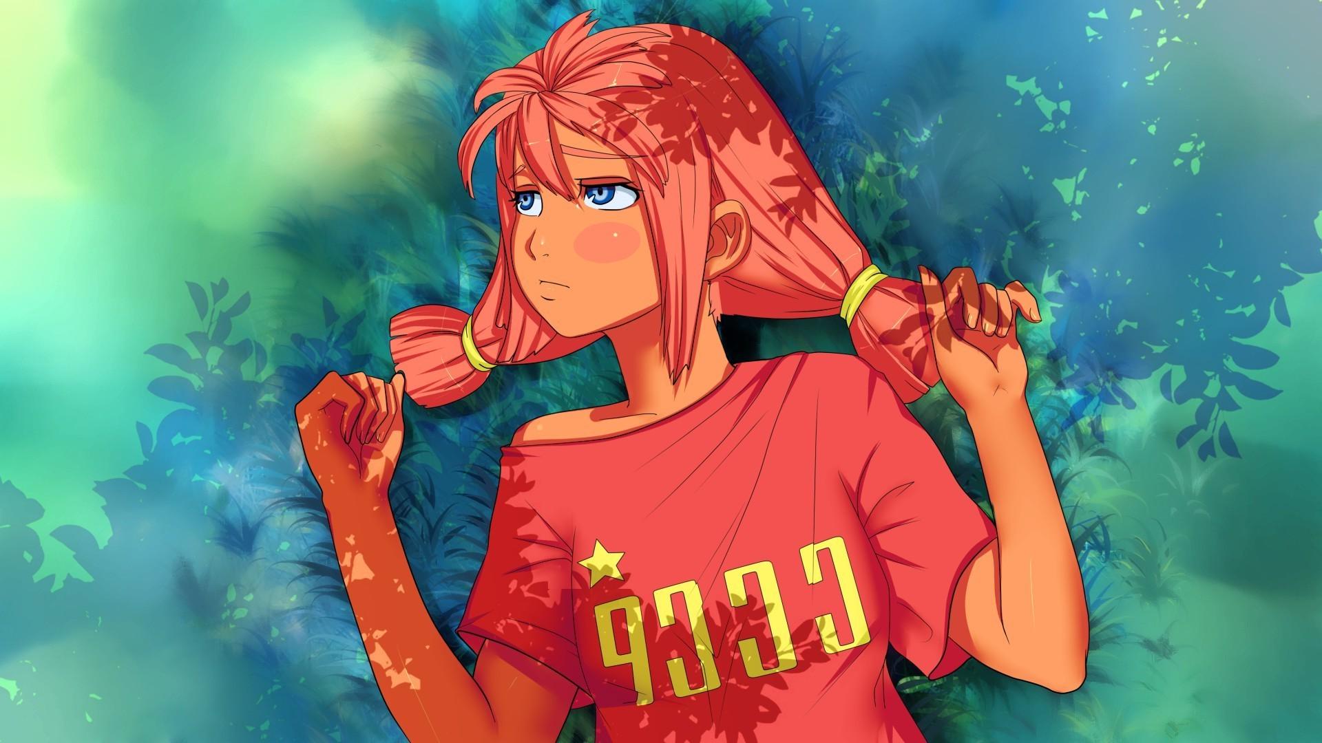 Ussr, Anime, Anime Girls, Leaves, Pigtails, Blushing, - Anime Girl Ussr - HD Wallpaper
