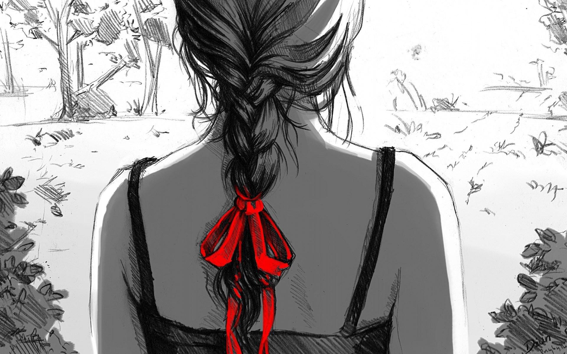 Woman Sketch Wallpapers - Dibujos Negro Y Rojo - HD Wallpaper