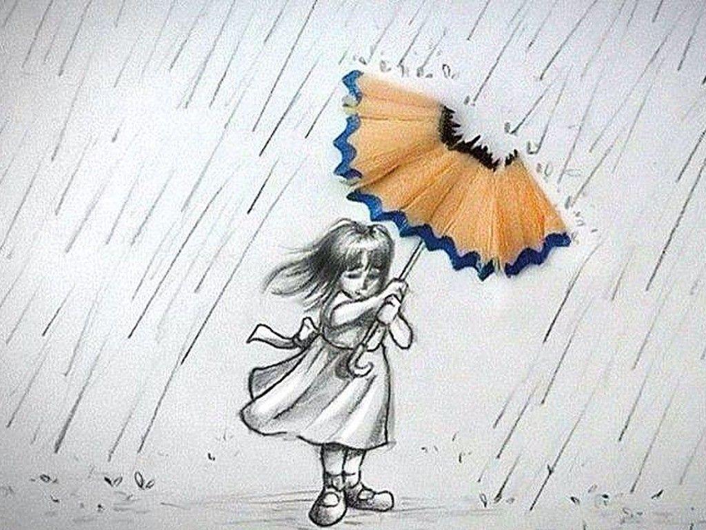 Pencil Sketch Wallpaper At Paintingvalley - Rainy Season Drawing Sketches - HD Wallpaper