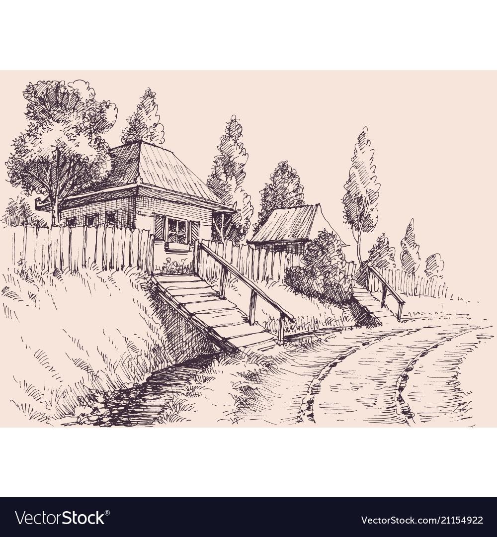 Sketch Village Road Drawing - HD Wallpaper