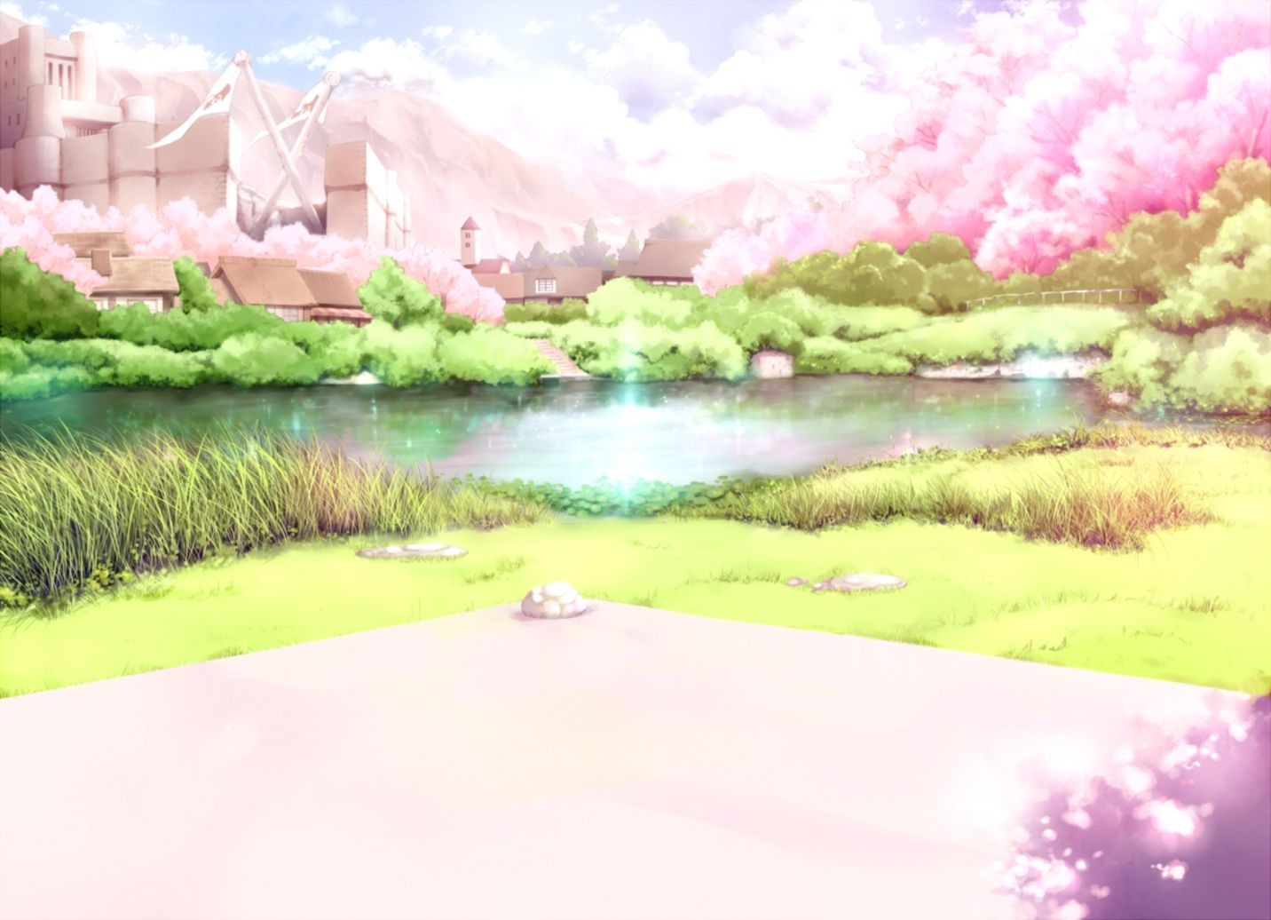 Anime Cherry Blossoms Landscape Wallpapers Hd Desktop - Scenery Cherry Blossom Anime Background - HD Wallpaper