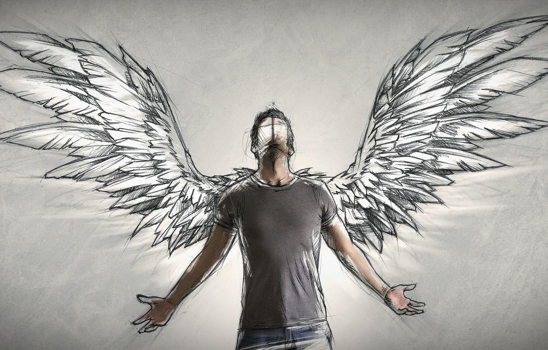 Photo Wallpaper People, Wings, Angel, Author, Male, - Sebastien Del Grosso - HD Wallpaper