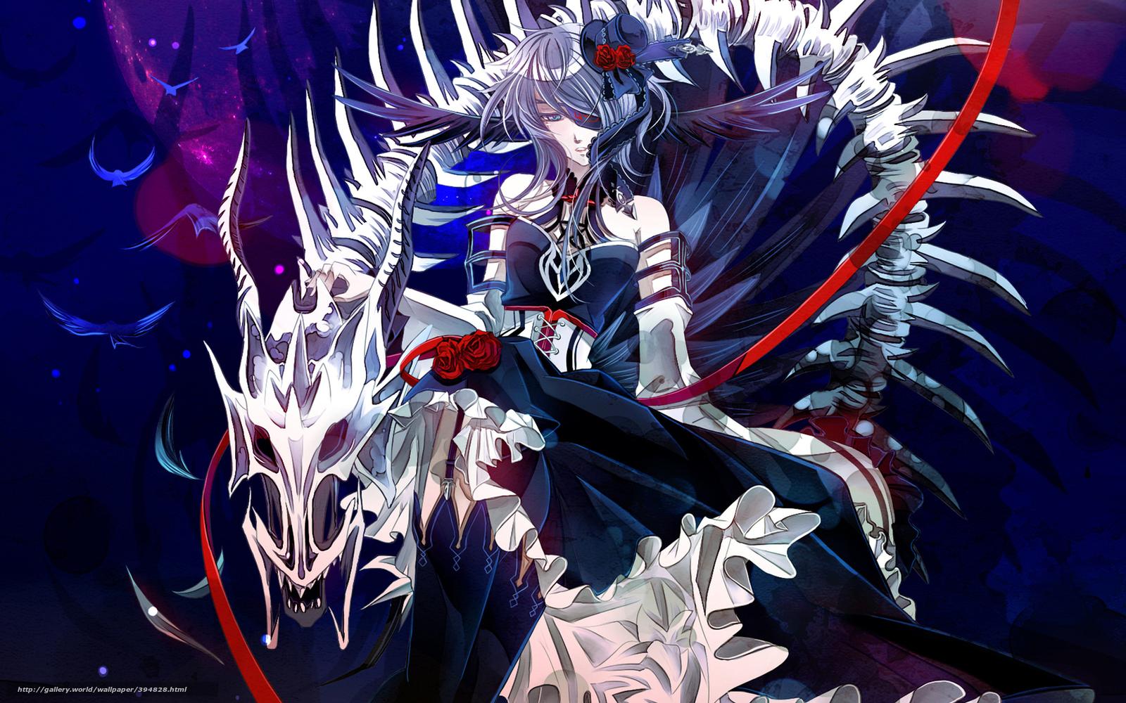 Download Wallpaper Girl Skeleton Rose Stockings Anime Girl With A Bone Dragon 1600x1000 Wallpaper Teahub Io