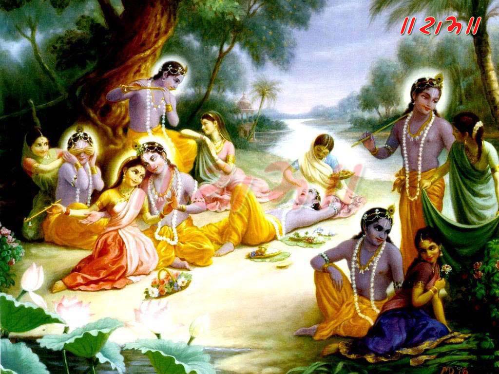 Sri Krishna Lila - Lord Krishna With Gopis - HD Wallpaper
