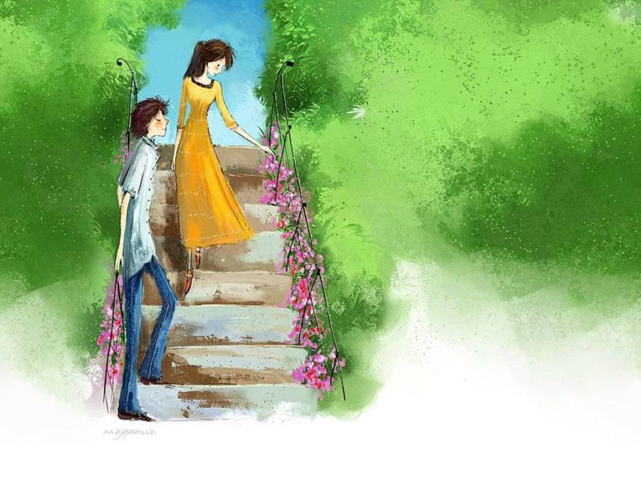 Gambar Ilustrasi Kartun Korea Cinta - Kartun Korea Cinta Romantis - HD Wallpaper