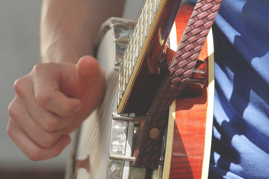 Music, Guitar, Play, Banjo, String, Man, Hand, Strap, - Music - HD Wallpaper