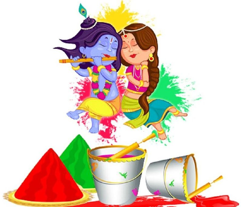 Best Holi Drawing Images Hd Wallpaper - Little Radha Krishna Holi - HD Wallpaper