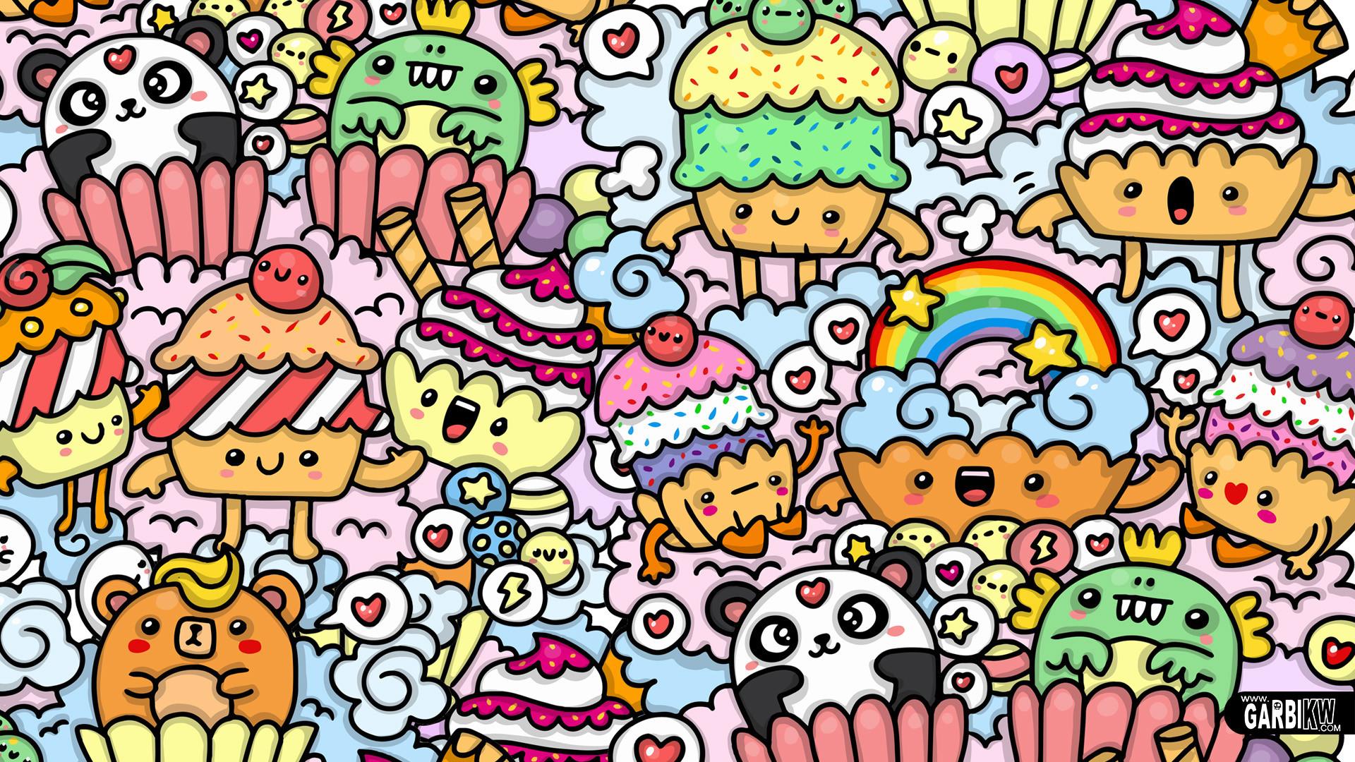 1080 In Kawaii Cupcake Doodle Art ...