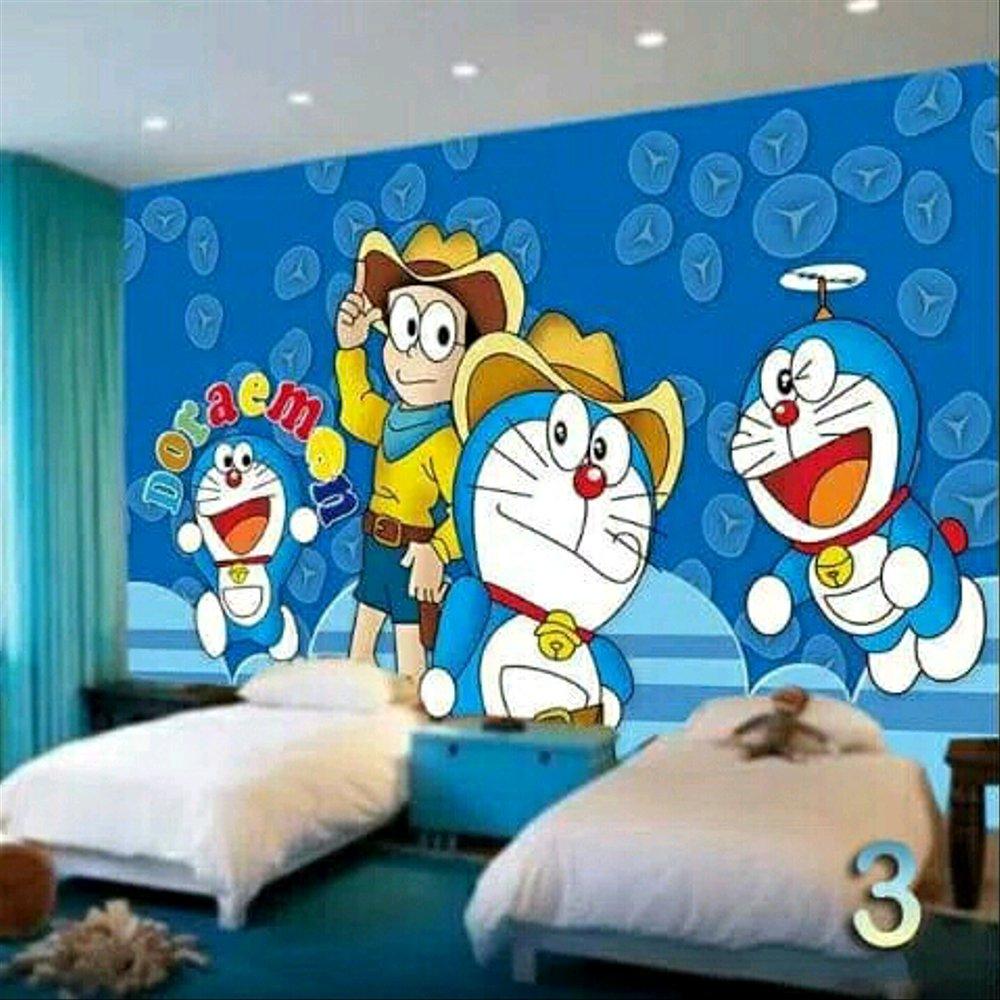 Wallpaper Dinding 3d Doraemon Karakter Kartun Termurah - Wall Design For Boys Bedroom - HD Wallpaper