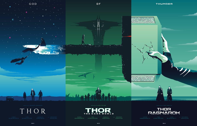 Photo Wallpaper Fiction, Collage, Hammer, Poster, Art, - Thor Trilogy Poster Rico Jr - HD Wallpaper