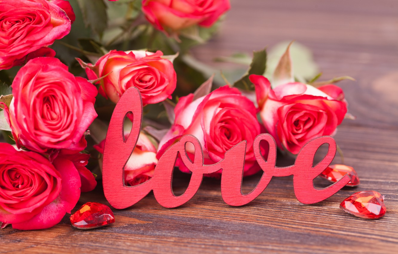 Photo Wallpaper Holiday, Love, Roses, Bouquet, Hearts, - Romantic Good Morning Flowers Rose - HD Wallpaper
