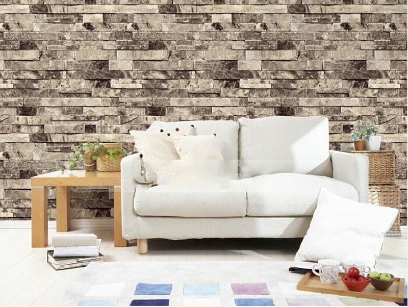 Faux Stone Brick Wall 3d Wallpaper Roll Modern Vintage - 3d Photo Wallpaper Bedroom Wall - HD Wallpaper