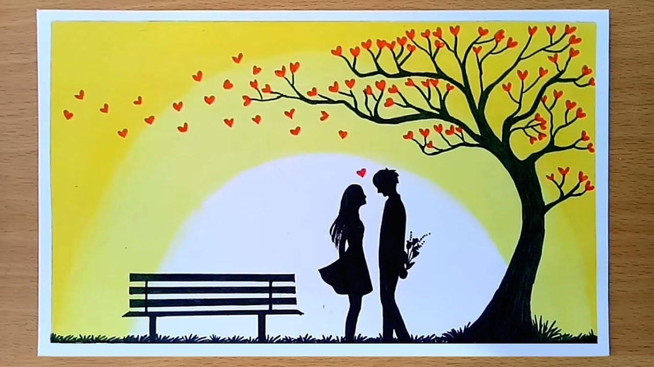 Oil Pastel Drawing Love Couple - HD Wallpaper