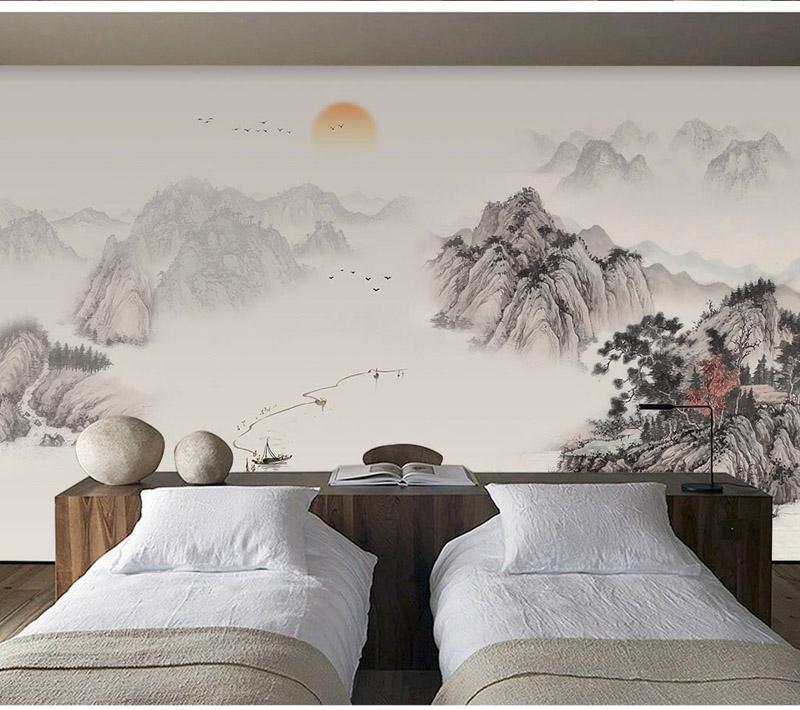 Nursery Décor Bacaz Chinese Scenery Sunset Boat Mountain - Wallpaper - HD Wallpaper