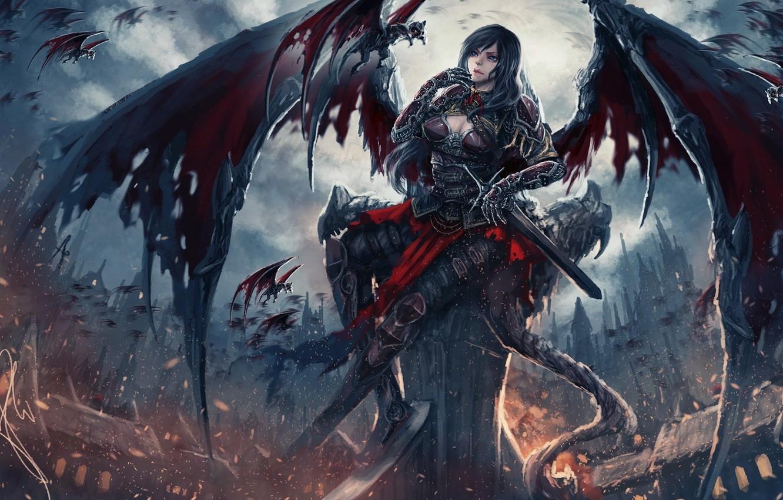 Photo Wallpaper Dark, Sword, Fantasy, Dark Angel, Armor, - Fantasy Warrior Dark Angel - HD Wallpaper