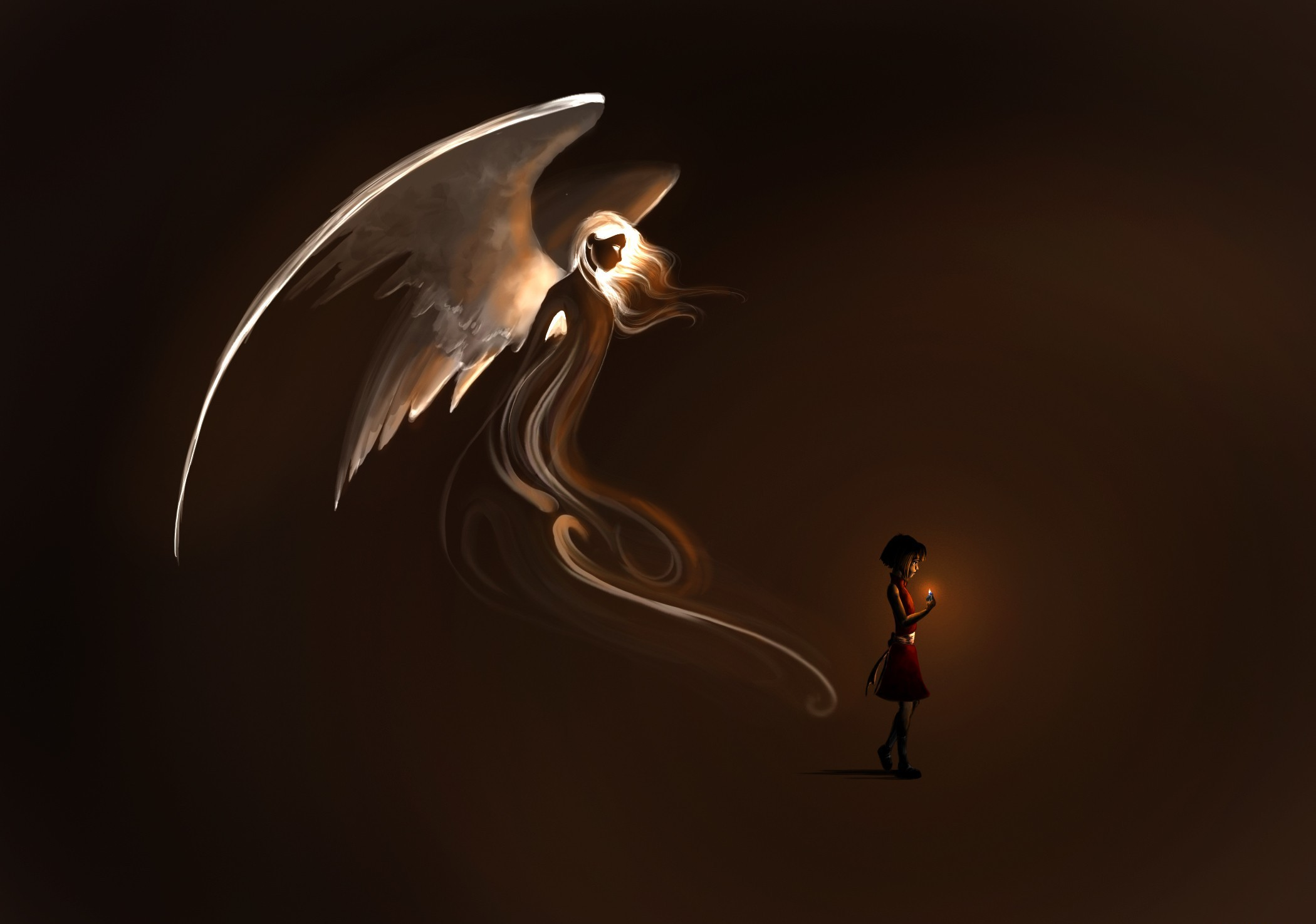 Black Angel Wallpaper - Angel Child Fantasy Art - HD Wallpaper