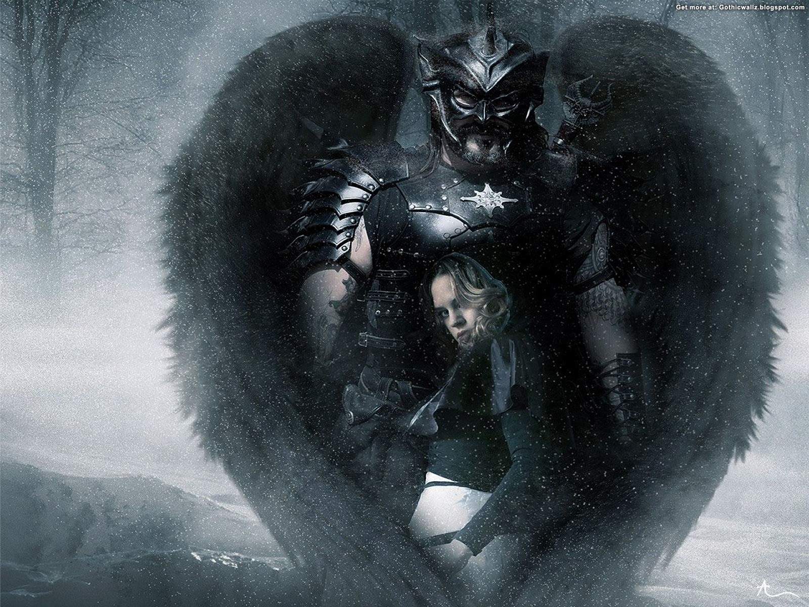 Dark Angel With Girl - Dark Guardian Angel Art - HD Wallpaper