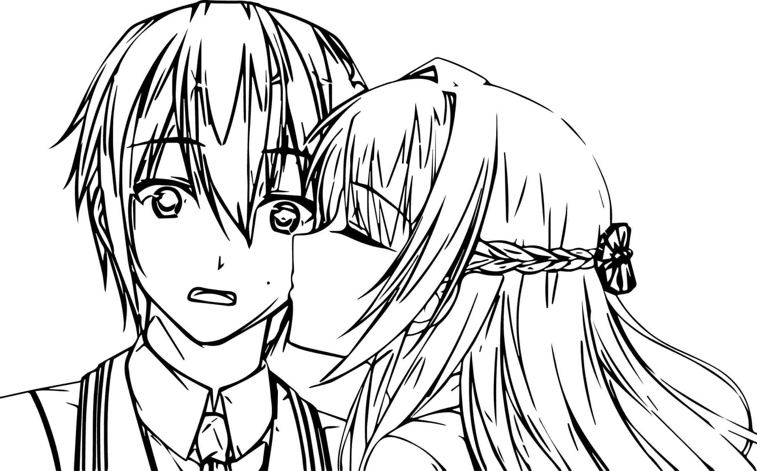 Anime Boy And Girl Coloring Pages - 10x10 Wallpaper - teahub.io