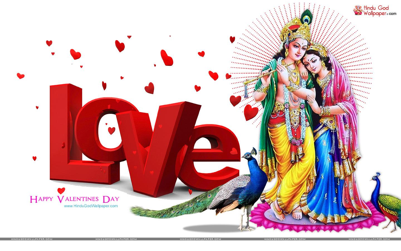 Happy Valentines Day Radha Krishna - HD Wallpaper