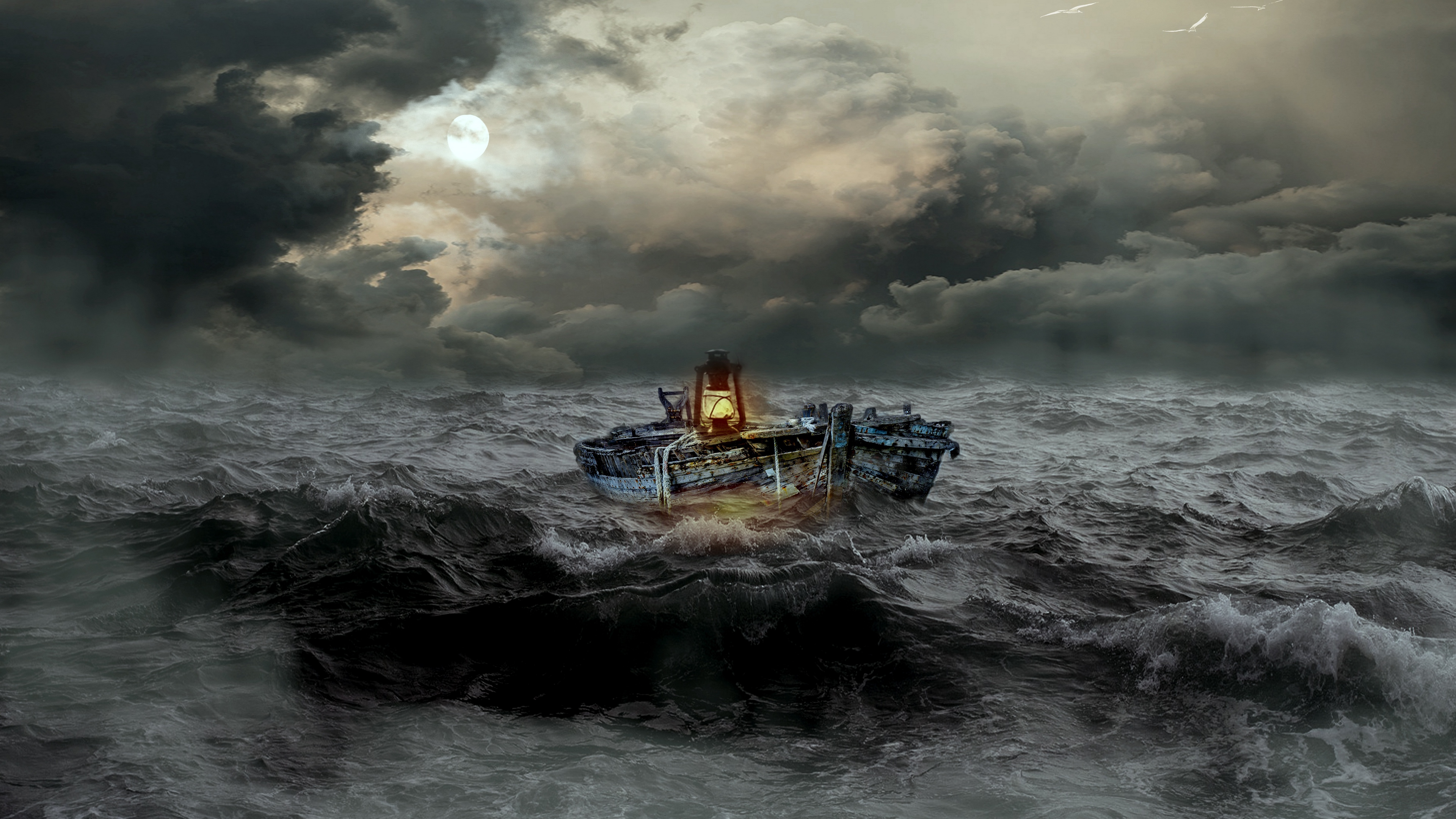 Wallpaper Boat Storm Sea Waves Overcast 3840x2160 Wallpaper Teahub Io
