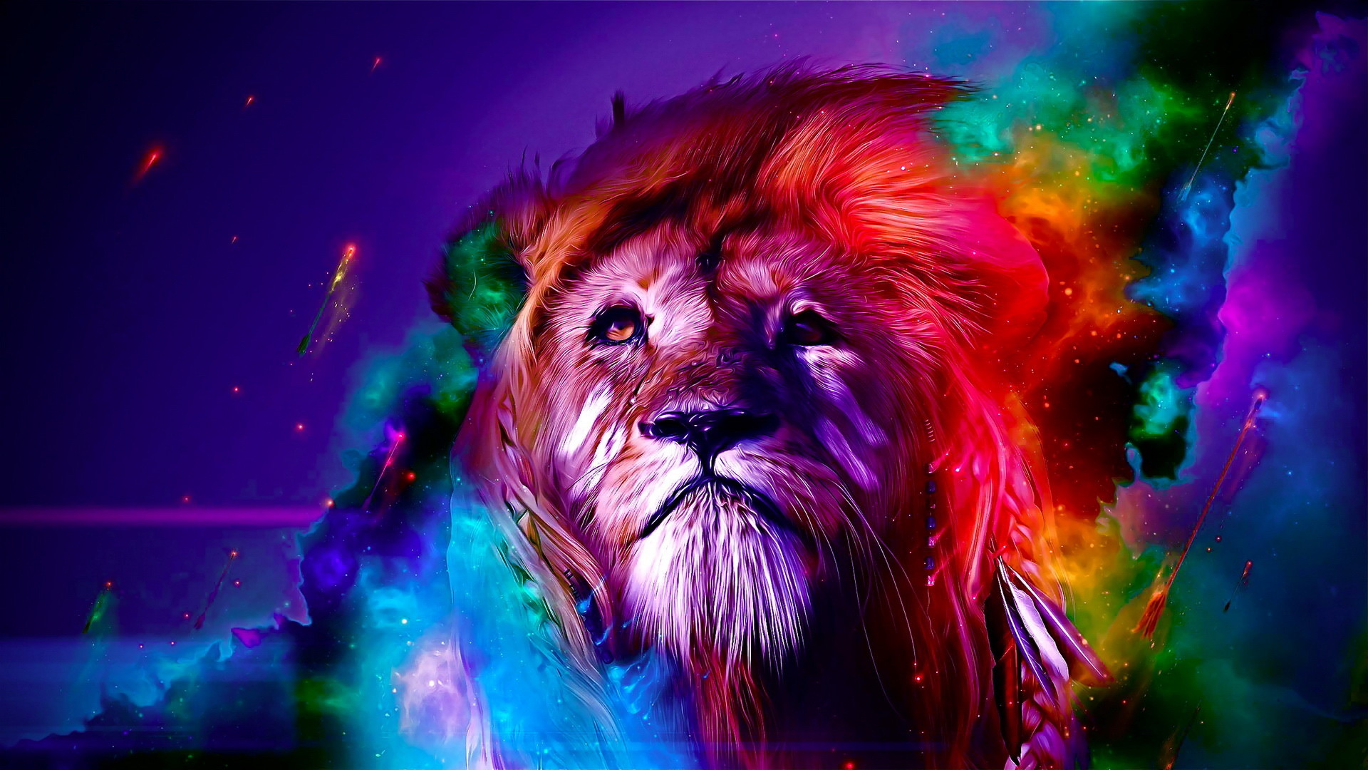 Color Lion Creative Desktop Wallpaper 1920ã—1080   - Colorful Lion Background - HD Wallpaper