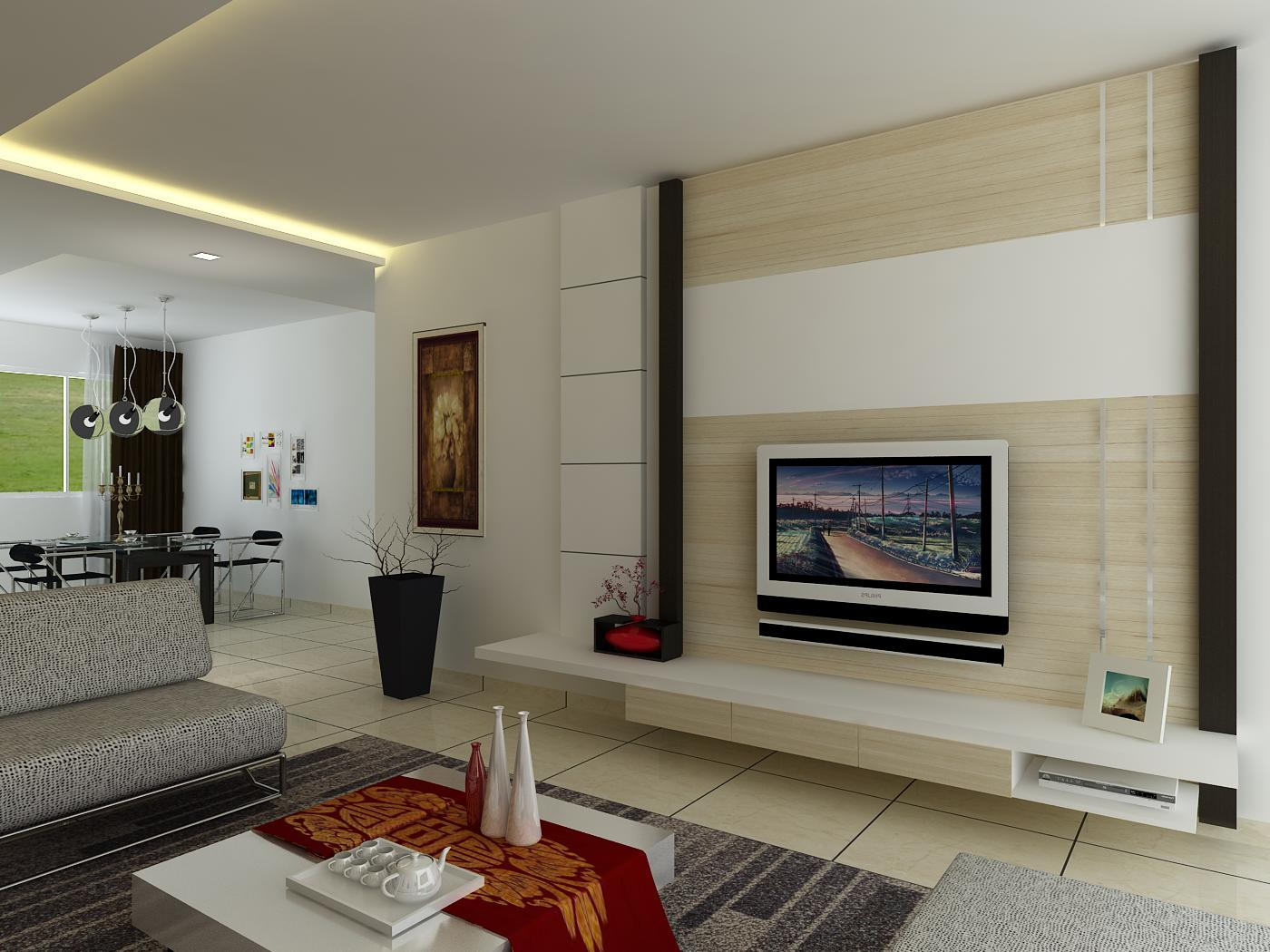 Red Feature Wallpaper Living Room - Small Tv Feature Wall Ideas - HD Wallpaper