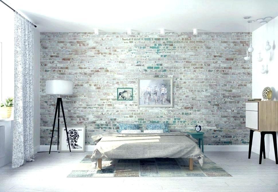 Grey Brick Wall Bedroom - HD Wallpaper