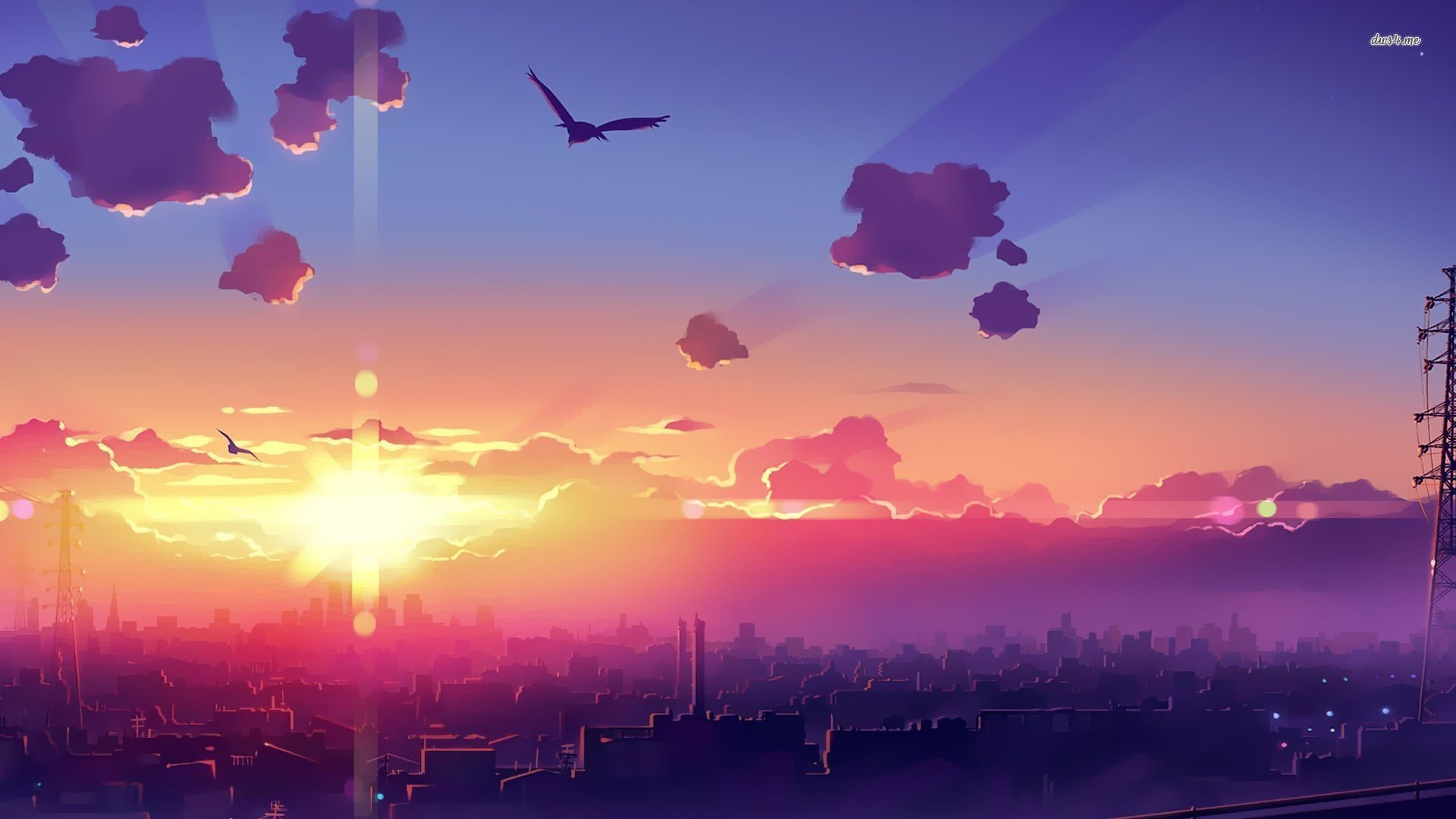 1920x1080, Amazing Sunset Above The City Wallpaper - Anime Background - HD Wallpaper