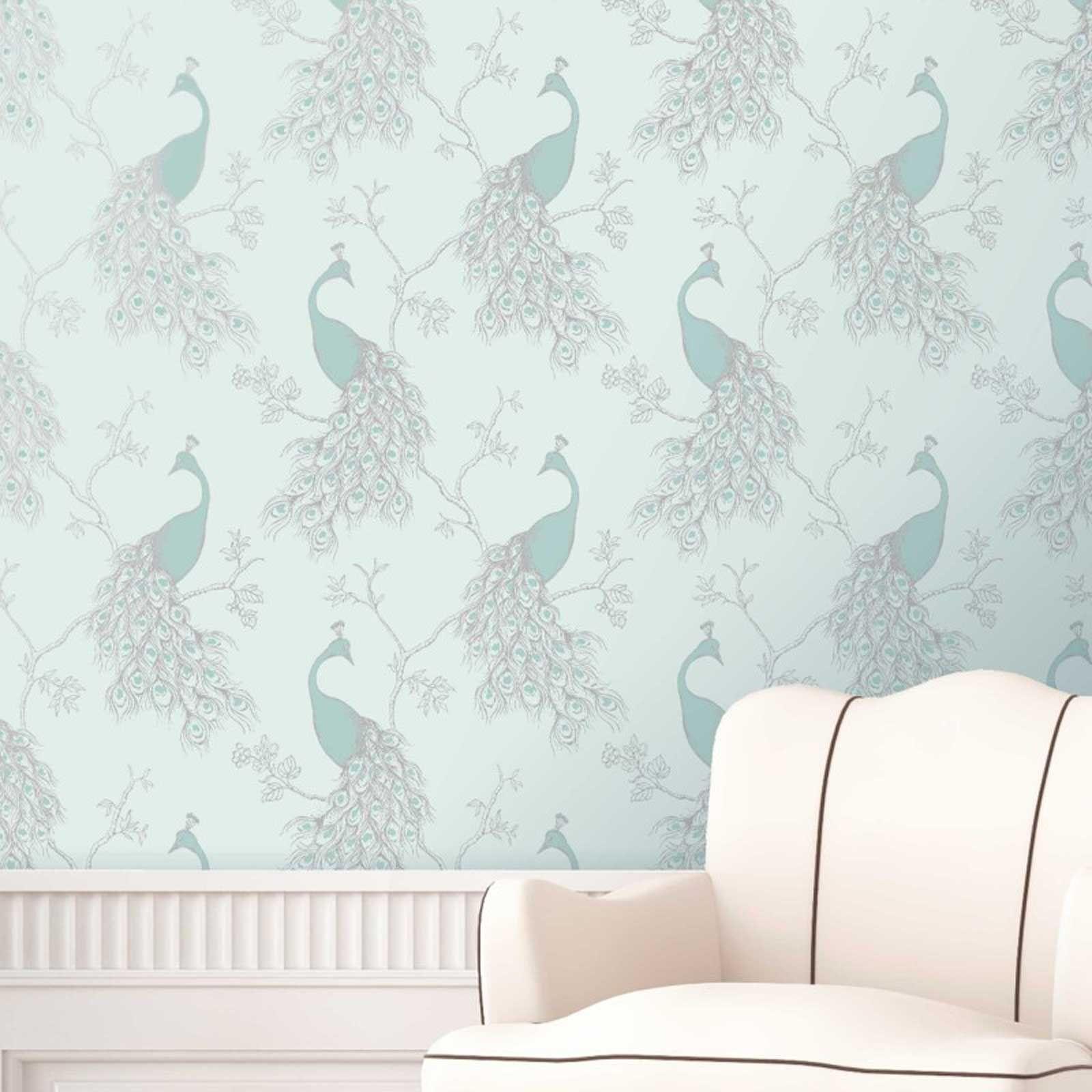 Teal Duck Egg Green Wallpaper Geometric Floral Birds - Duck Egg Blue And Grey - HD Wallpaper